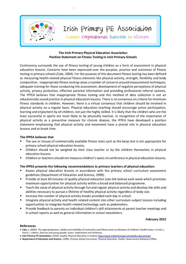 IPPEA Position Statement on Fitness testing in Primary Schools
