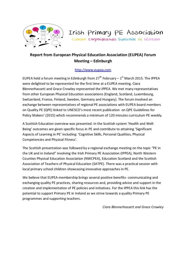 EUPEA Meeting Report March 2015