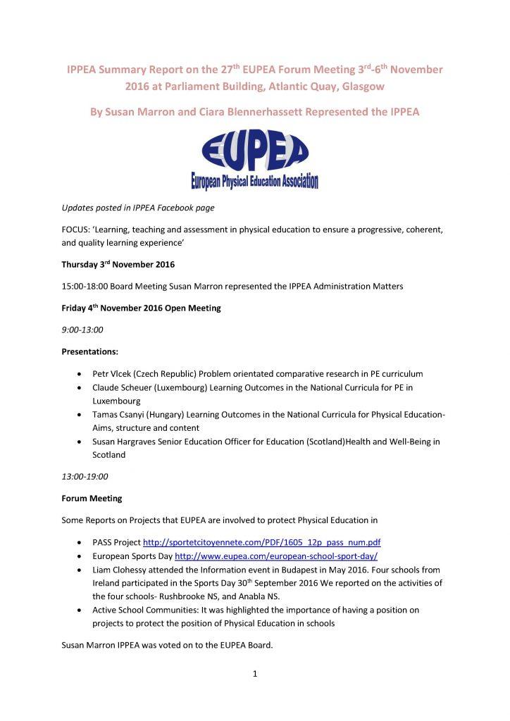 Page one of two Summary EUPEA Forum Glasgow Nov 2016