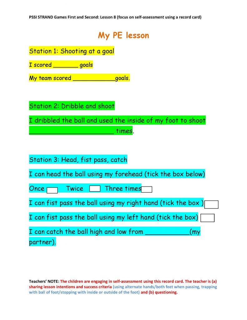 Sample Task Card used in one of the lessons.